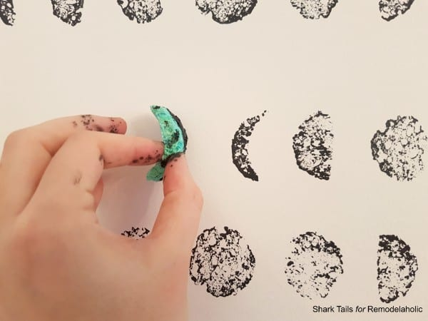 DIY lunar cycle stamped accent wall for a gender neutral baby nursery | Paint this entire wall in one day and save hundreds of dollars over buying hand-painted wallpaper