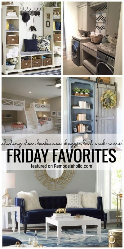 Time To Get Inspired! Sliding Door Bookcase, Doggie Bed And More Featured In Friday Favorites At Remodelaholic.com
