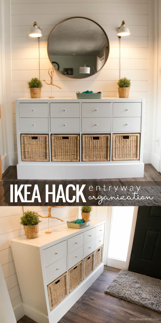 Using Ikea Kallax Shelf To Organize Your Entry Beautifully