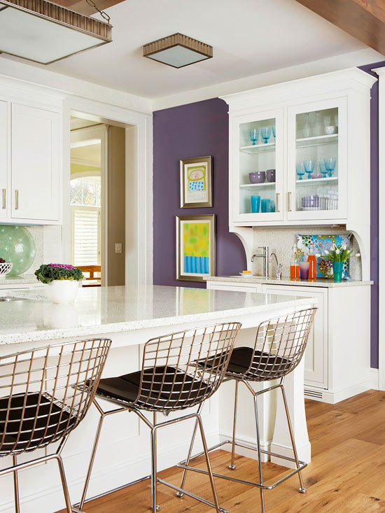 White And Purple Kitchen Via BHG