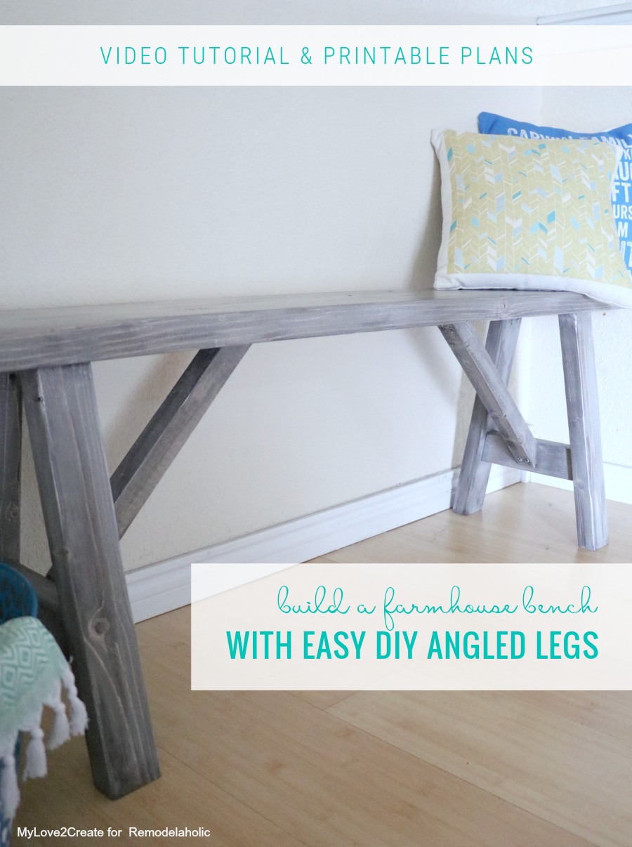 Build A DIY Wood Farmhouse Bench With Angled Legs, Video Tutorial And Printable Plans, Remodelaholic