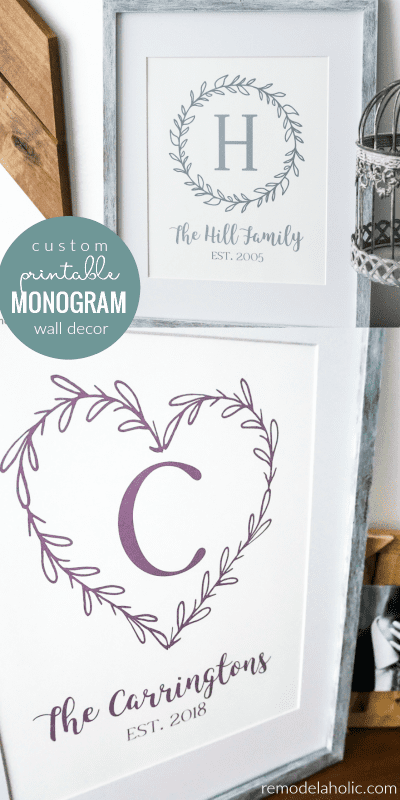 Custom Printable Farmhouse Monogram Wreath @Remodelaholic