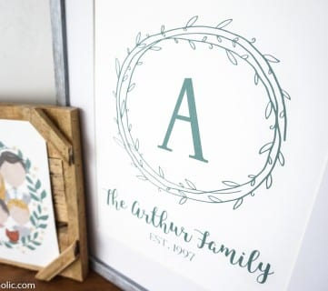 Custom Printable Farmhouse Monogram Wreath Print Set (10)