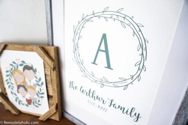 Printable Green Wall Art: Family Name Sign with Letter Name and Date