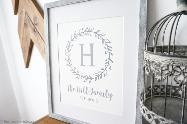 Printable family name wall art in graphite gray