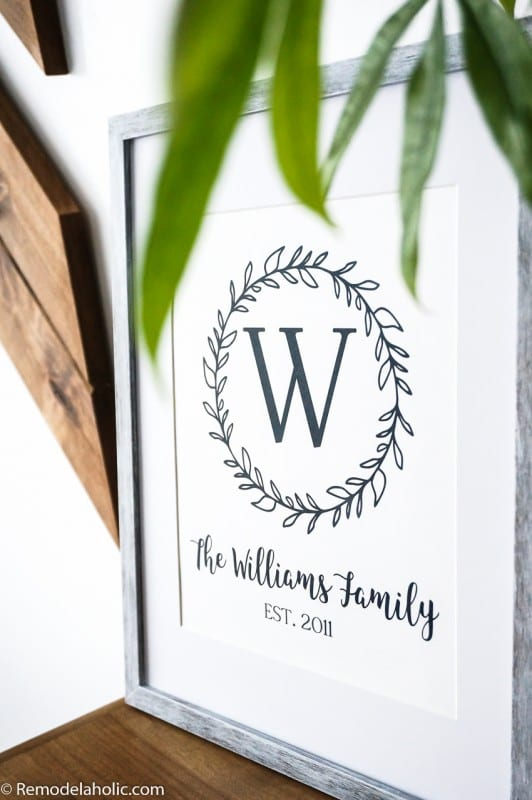 Add custom style to your home with this free printable family name wall art. Just pick your initial for the farmhouse monogram and enter the name for easy decorating and gifting.