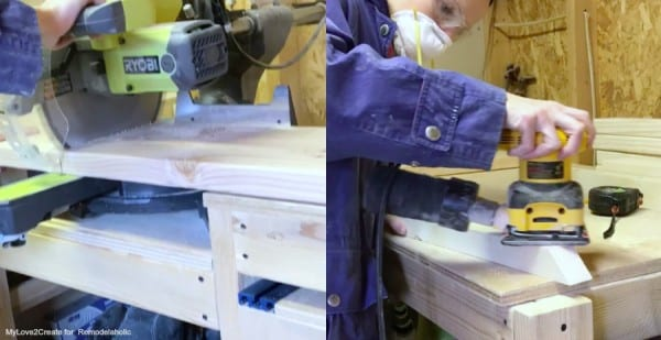 Cutting Bench Top And Sanding Pieces, Easy DIY Bench, MyLove2Create