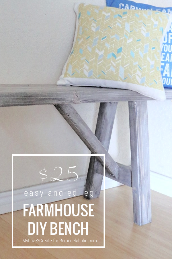 Easy DIY Angled Leg Farmhouse Wood Bench Plans And Tutorial, MyLove2Create For Remodelaholic