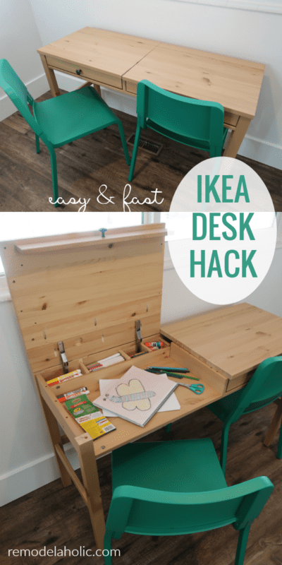 Easy And Fast IKEA Desk With Faux Drawer Fronts To Hike Kids Art Station With Storage #remodelaholic