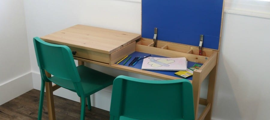 DIY IKEA Hemnes Desk Hack into Double-Duty Shared Kids Desk with Hidden Storage