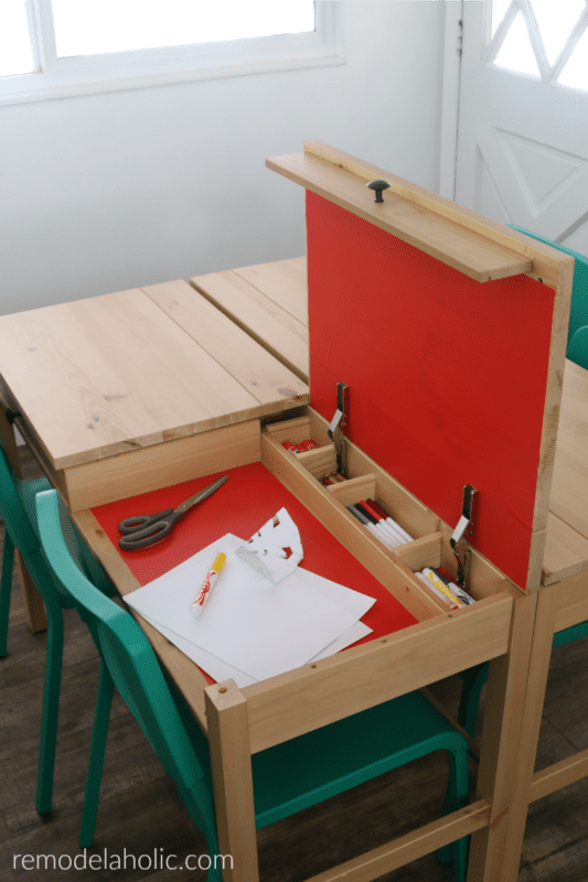 Hidden Compartment Kids Workstation For Homework Or Arts And Crafts In Ikea Hemnes Desk Hack #remodelaholic