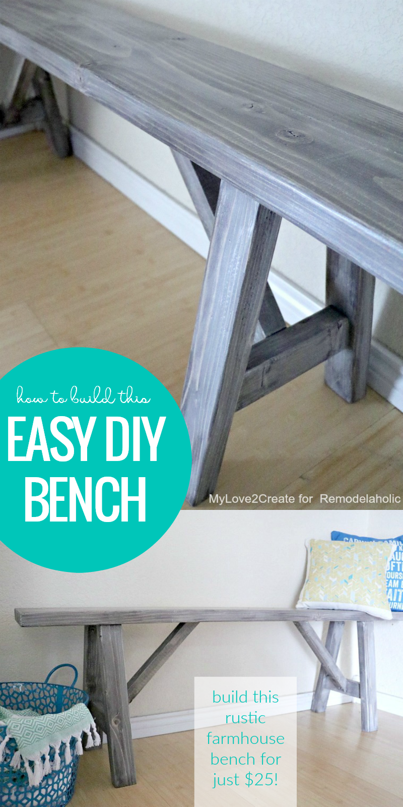 Remodelaholic how to build an easy diy bench for just 25 for Cost to build farmhouse