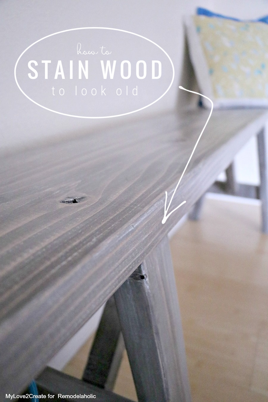 How To Stain Wood To Look Old For A DIY Farmhouse Furniture Finish, MyLove2Create For Remodelaholic