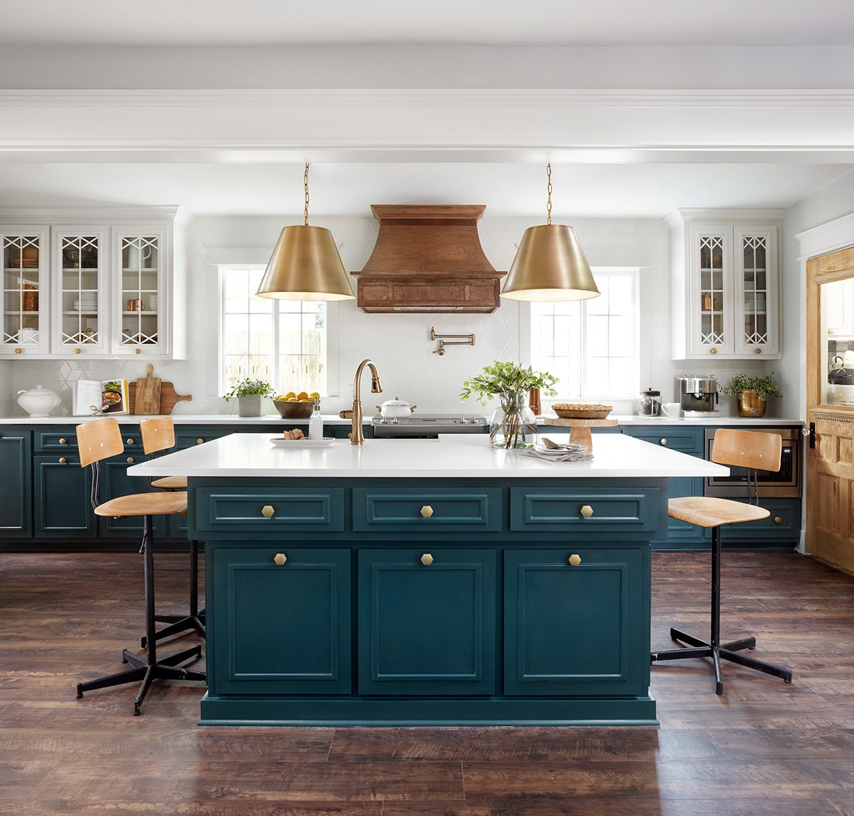 Fixer Upper Plain Jane House Kitchen Love The White Cabinets With Pea Blue Island