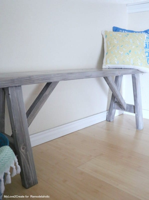 easy DIY farmhouse wood bench plans, Remodelaholic