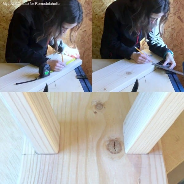 Marking Where Bench Legs Attach To Top, Easy DIY Bench, MyLove2Create