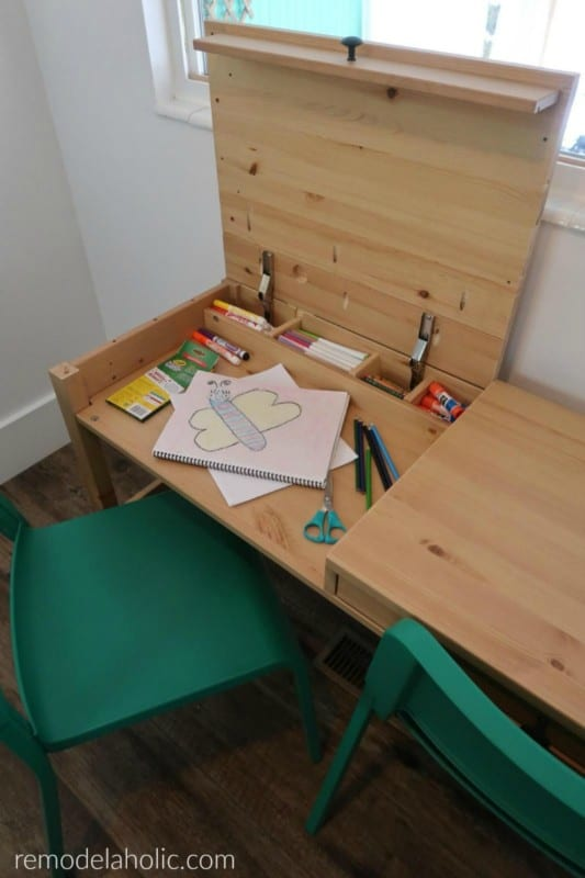 Simple IKEA Hack Desk With Two Art Workstations For Kids And Storage #remodelaholic