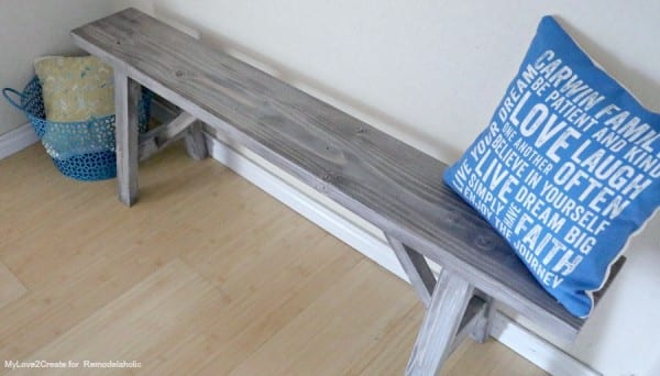 Build a DIY Wood Bench with Rustic Farmhouse Stain, MyLove2Create