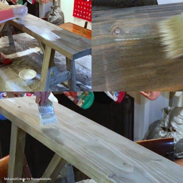 White Wash And Dry Brush, Easy DIY Bench, MyLove2Create