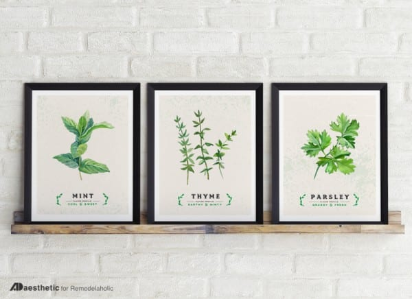 Printable Green Wall Art for Kitchen Decor: Printable Set, Culinary Herbs | AD Aesthetic For Remodelaholic