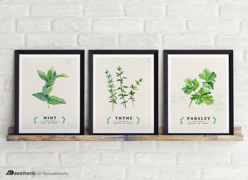Free Printable Graphic Culinary Herbs AD Aesthetic For Remodelaholic • Horizontal Copy