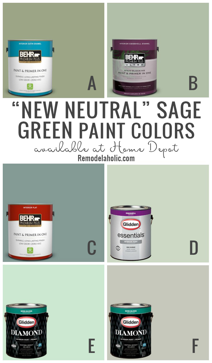 New Neutral Sage Green Paint Colors #Remodelaholic