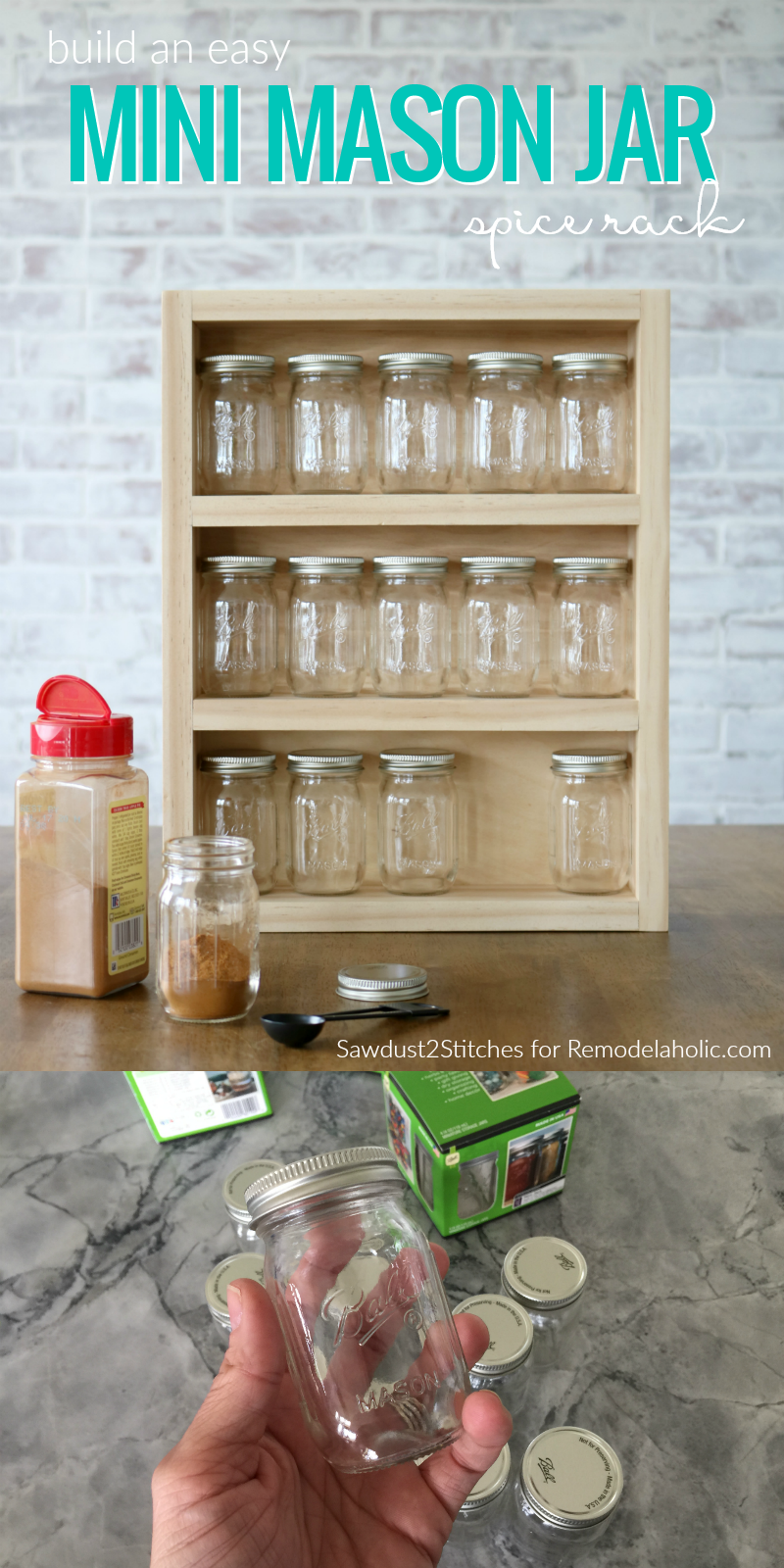 Remodelaholic Build A Mini Mason Jar Spice Rack