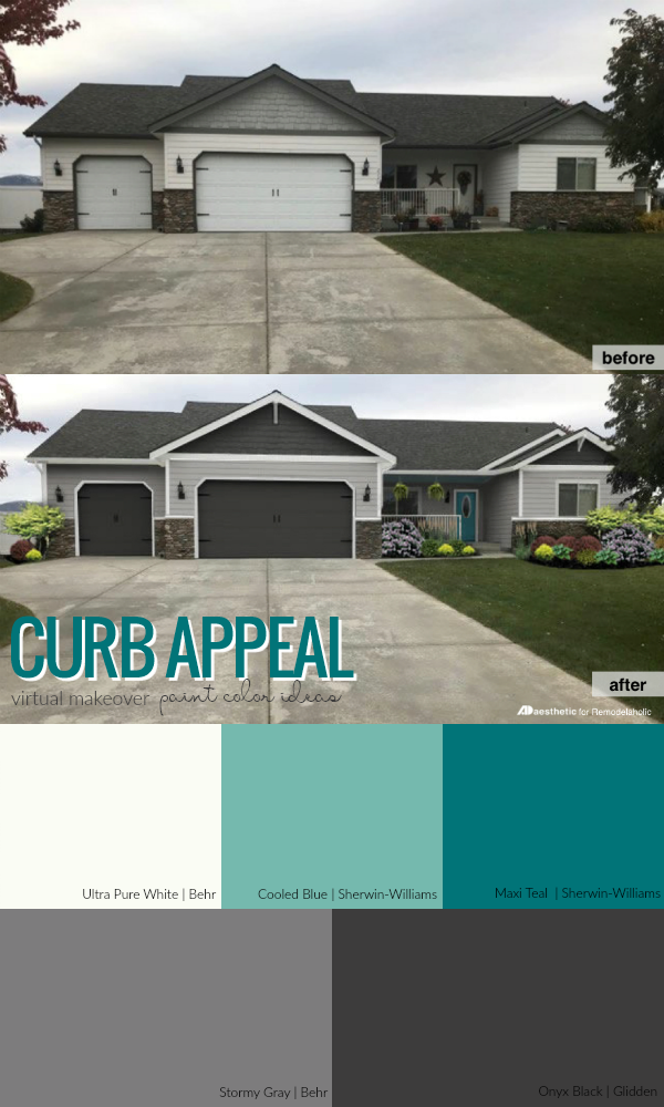 Remodelaholic | Real Life Rooms: Garage Door Curb Appeal ... on Garage Door Colors Ideas  id=18089