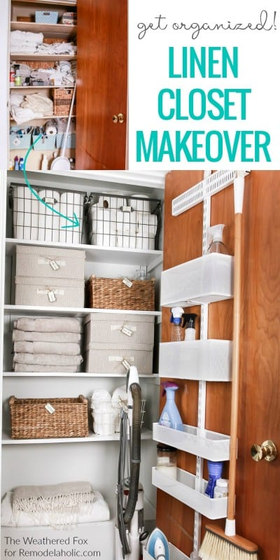 Get organized! This linen closet makeover features an adjustable over the door organizer for cleaning supplies, plus baskets and boxes to organize AND there's room to store the vacuum.