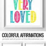 Printable Wall Art Poster Set Of Colorful Affirmations For Kids #remodelaholic