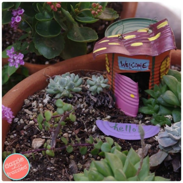 Recycled Tin Can Fairy Garden House, Dazzle While Frazzled
