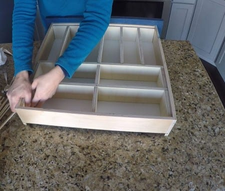 Putting together drawer organizers using plywood dividers