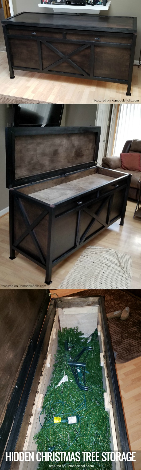 DIY Console With Hidden Christmas Tree Storage Compartment, Featured On #remodelaholic