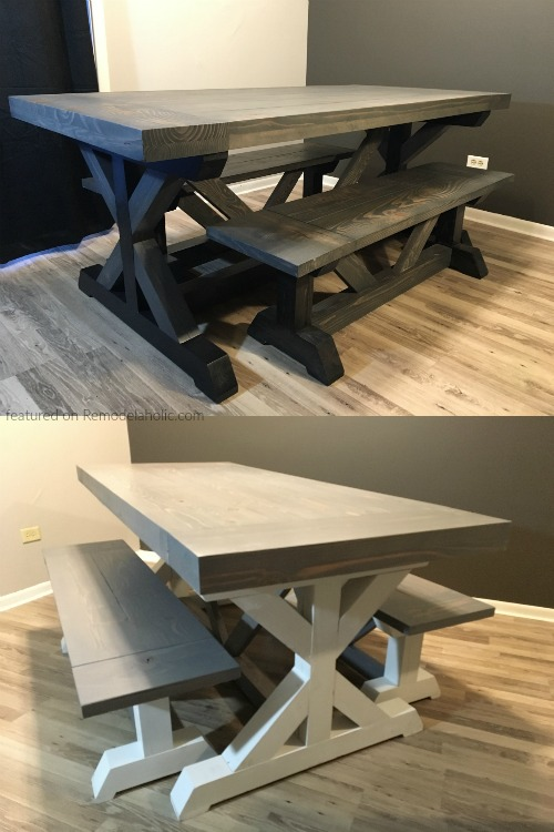 DIY Trestle Base Farmhouse Table And Matching Benches By Reader Doug, Featured On @Remodelaholic