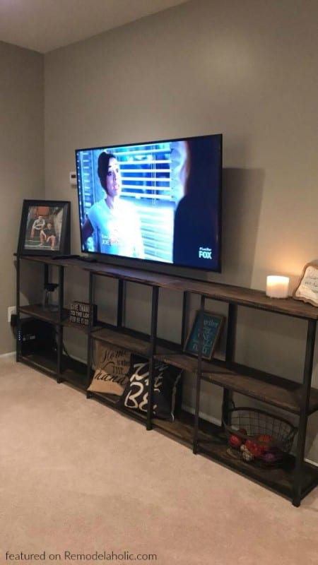IKEA HYLLIS Metal And Wood Shelf Hack For A Media Center, Stacy Featured On Remodelaholic Wm
