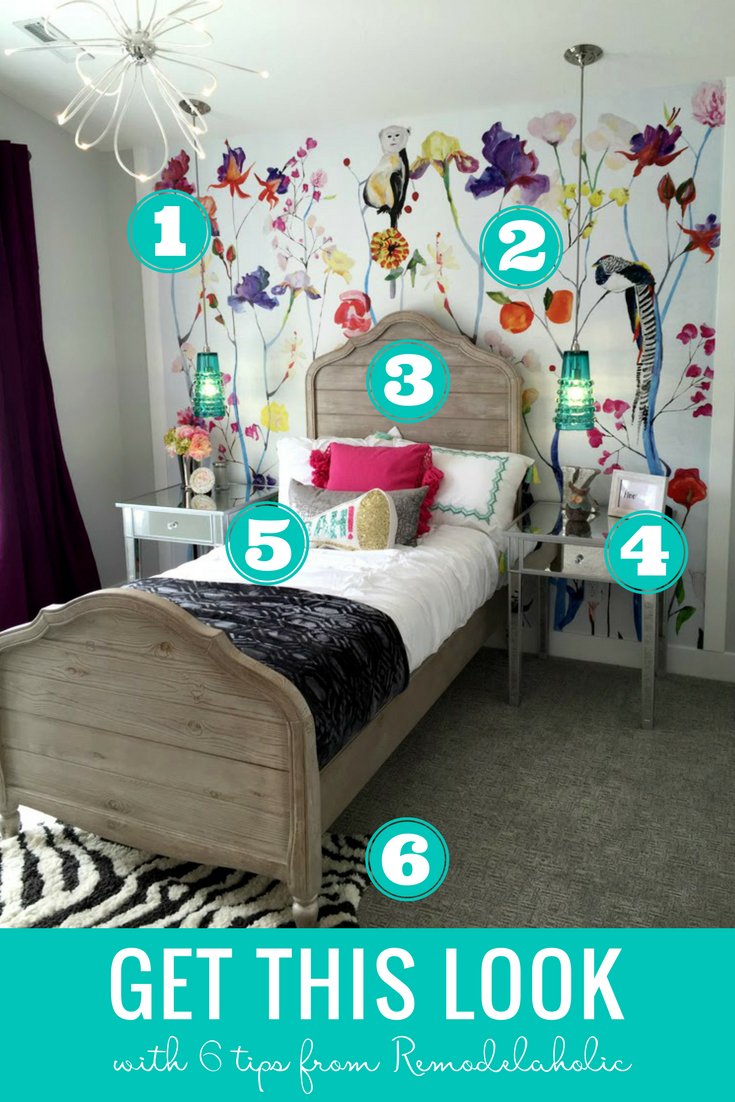 Give your daughter's bedroom a makeover with these tips and ideas for an eclectic and colorful teen girl bedroom! The colorful wallpaper and rustic wood bed are a fun combination. #getthislook #remodelaholic
