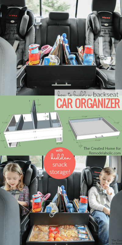 Build A DIY Backseat Car Organizer With Hidden Snack Storage And Activity Organization #remodelaholic
