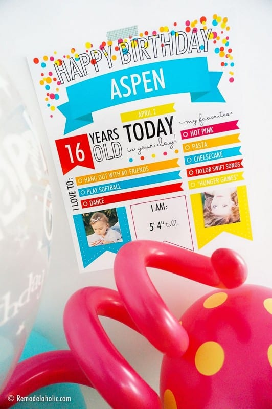 Custom Fillable Printable Birthday Poster Infographic For Teens #remodelaholic