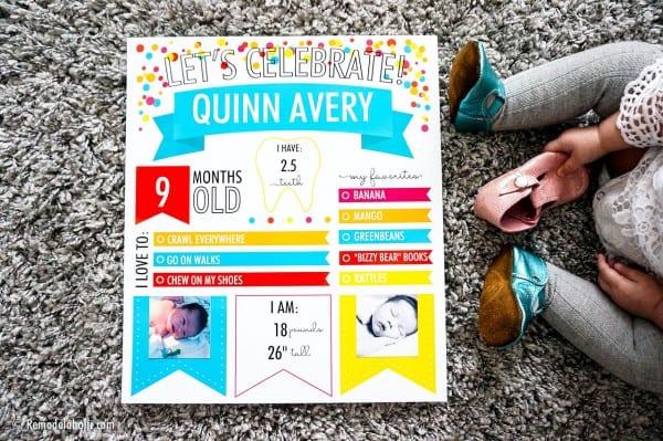Custom Printable Monthly Baby Milestone Infographic Poster For Birthdays #remodelaholic (1)