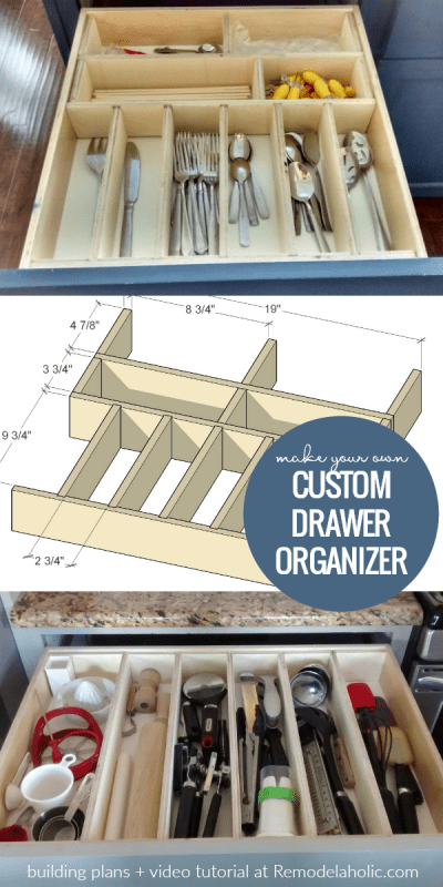 Whip your kitchen, bathroom, dresser, or desk drawers into shape with these affordable custom DIY drawer organizers. Adjustable, with no glue or nails, to organize kitchen utensils, clothing, office supplies, or bathroom essentials. | DIY Custom Drawer Organizers And Dividers, Building Plan And Video Tutorial, No Glue No Nails #remodelaholic