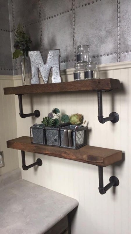 Diy Rustic Wood Shelves With Pipe Brackets, Beth Motley Featured On Remodelaholic