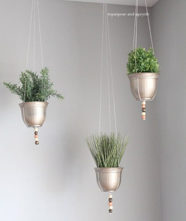 Dollar Store Hanging Planters, Repurpose And Upcycle