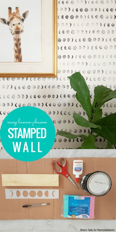 One Day DIY Feature Wall: Hand Painted Sponge Stamped Accent Wall of Moon Phases/Lunar Cycle. Full tutorial @Remodelaholic
