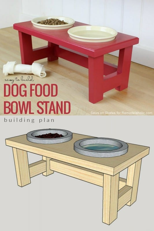 Build an easy DIY dog food bowl stand using scrap pieces. Perfect for small dogs and puppies. #remodelaholic