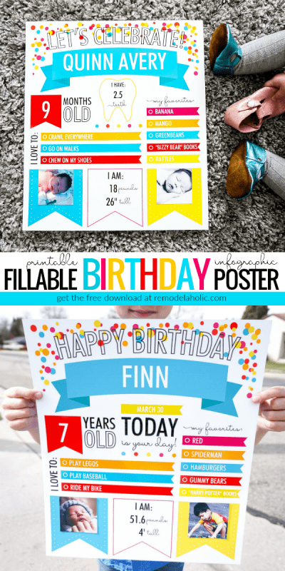 Create photo memories with this free printable birthday poster infographic. Fill in the stats about the birthday boy or girl, then print and photograph. Perfect for monthly baby photos as well as annual birthday photos for children, teens, and adults.   Fillable Infographic Printable Birthday Poster For Babies, Kids, Teens, And Adults #remodelaholic