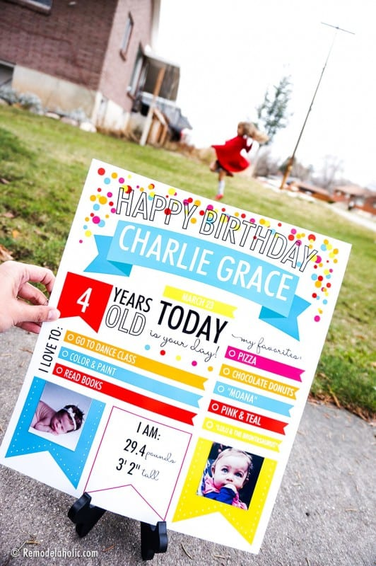 Fillable Infographic Printable Birthday Poster Milestone Photo Op For Children And Adults #remodelaholic