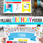 Instant Download PDF Birthday Poster, Fillable Infographic For Monthly Baby Pictures And Yearly Birthday Photos #remodelaholic