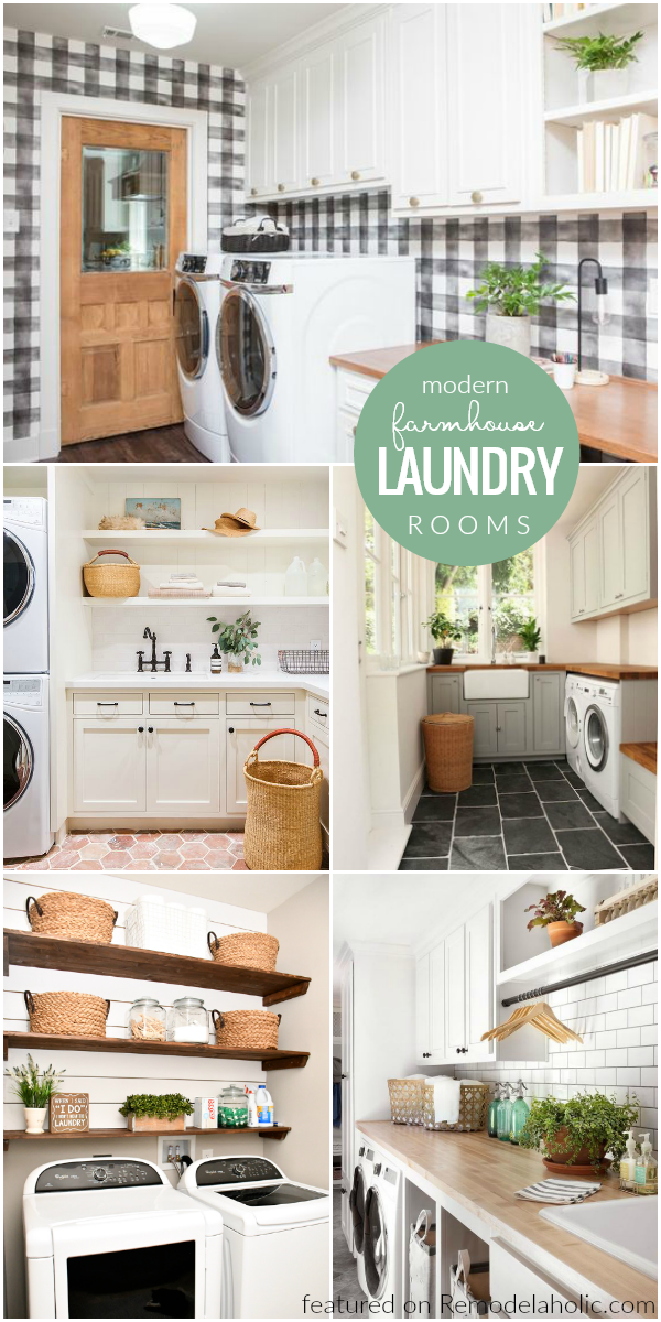 Remodelaholic Modern Farmhouse Laundry Room Inspiration