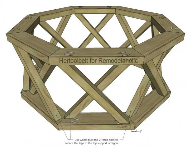 Outdoor Coffee Table Octagon Attach Top Support