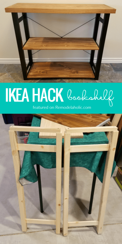Try this easy IKEA hack bookshelf! One IVAR shelf unit turned into three rustic modern bookshelves or small console tables. #imaremodelaholic featured on #Remodelaholic